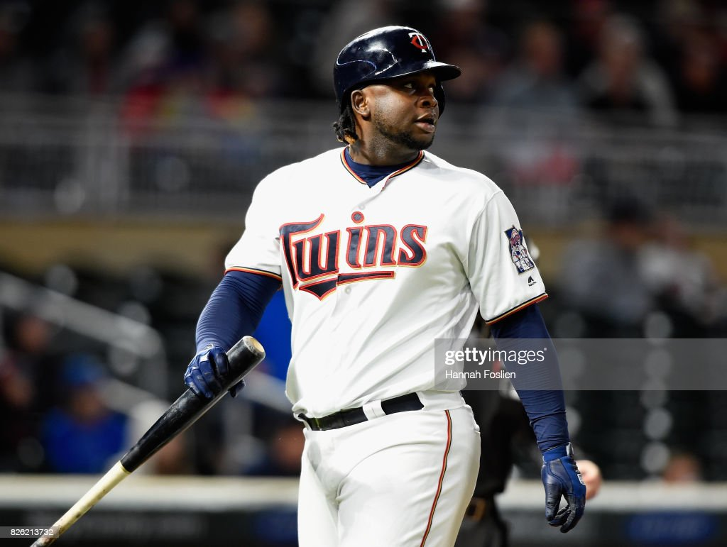 Miguel Sano #22 of the Minnesota Twins reacts to striking out against the Texas Rangers during the ninth inning of the game on August 3, 2017 at Target Field in Minneapolis, Minnesota. The Rangers defeated the Twins 4-1.