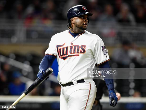 Miguel Sano of the Minnesota Twins reacts to striking out against the Texas Rangers during the ninth inning of the game on August 3 2017 at Target...