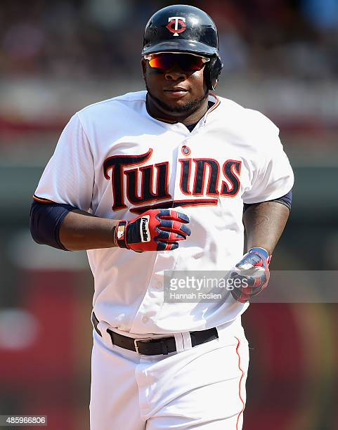 Miguel Sano of the Minnesota Twins rounds the bases after hitting a tworun home run against the Houston Astros during the seventh inning of the game...