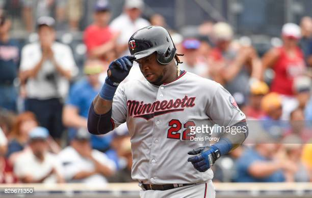 Miguel Sano of the Minnesota Twins rounds the bases after hitting a solo home run during the sixth inning of a baseball game against the San Diego...