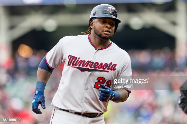 Miguel Sano of the Minnesota Twins rounds the bases on a solo home run during the first inning against the Cleveland Indians at Progressive Field on...