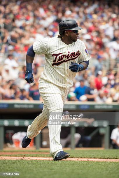 Miguel Sano of the Minnesota Twins runs after hitting a home run against the New York Yankees on July 19 2017 at Target Field in Minneapolis...