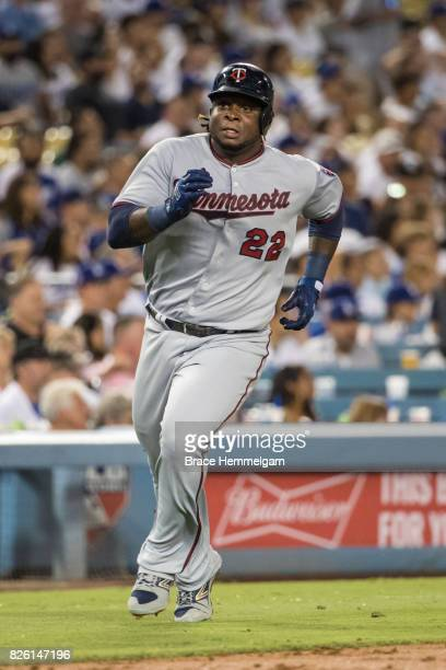 Miguel Sano of the Minnesota Twins runs against the Los Angeles Dodgers on July 24 2017 at Dodger Stadium in Los Angeles California The Dodgers...