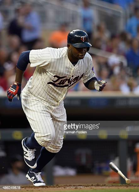Miguel Sano of the Minnesota Twins runs out of the batters box after hitting a solo home run against the Chicago White Sox during the second inning...
