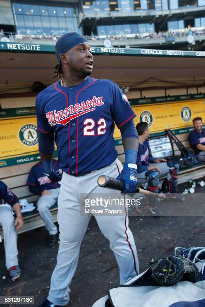 Miguel Sano of the Minnesota Twins stands in the dugout prior to the game against the Oakland Athletics at the Oakland Alameda Coliseum on July 28...