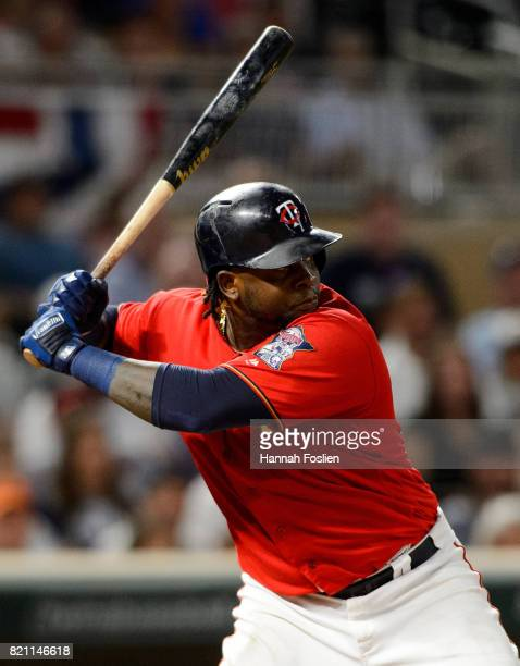 Miguel Sano of the Minnesota Twins takes an at bat against the Detroit Tigers during the game on July 21 2017 at Target Field in Minneapolis...