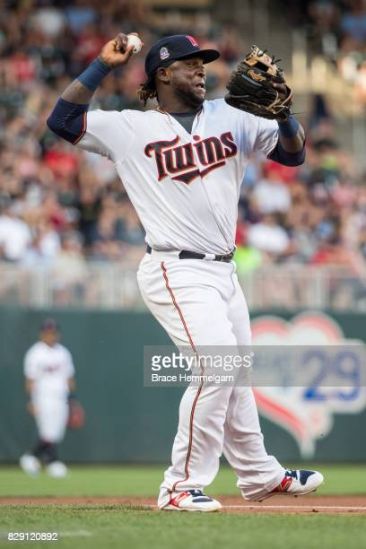 Miguel Sano of the Minnesota Twins throws against the Detroit Tigers on July 22 2017 at Target Field in Minneapolis Minnesota The Twins defeated the...