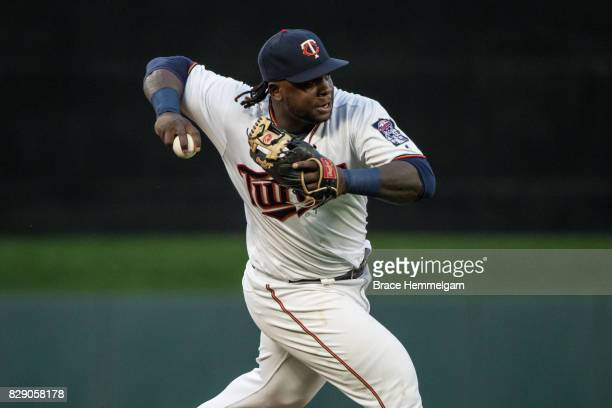 Miguel Sano of the Minnesota Twins throws against the New York Yankees on July 18 2017 at Target Field in Minneapolis Minnesota The Twins defeated...