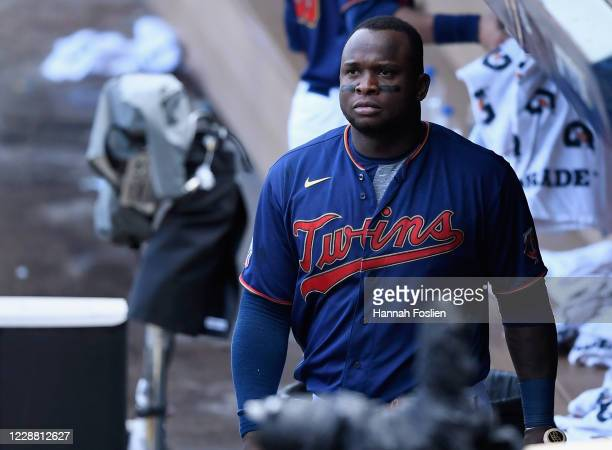 Miguel Sano of the Minnesota Twins walks through the dugout after being defeated by the Houston Astros in Game Two in the American League Wild Card...