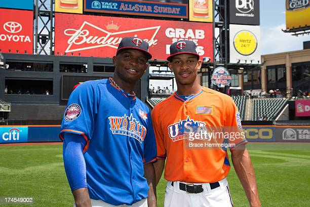Miguel Sano of the World Team and Byron Buxton of the United States both Minnesota Twins prospects pose for a photo prior to the game on July 14 2013...