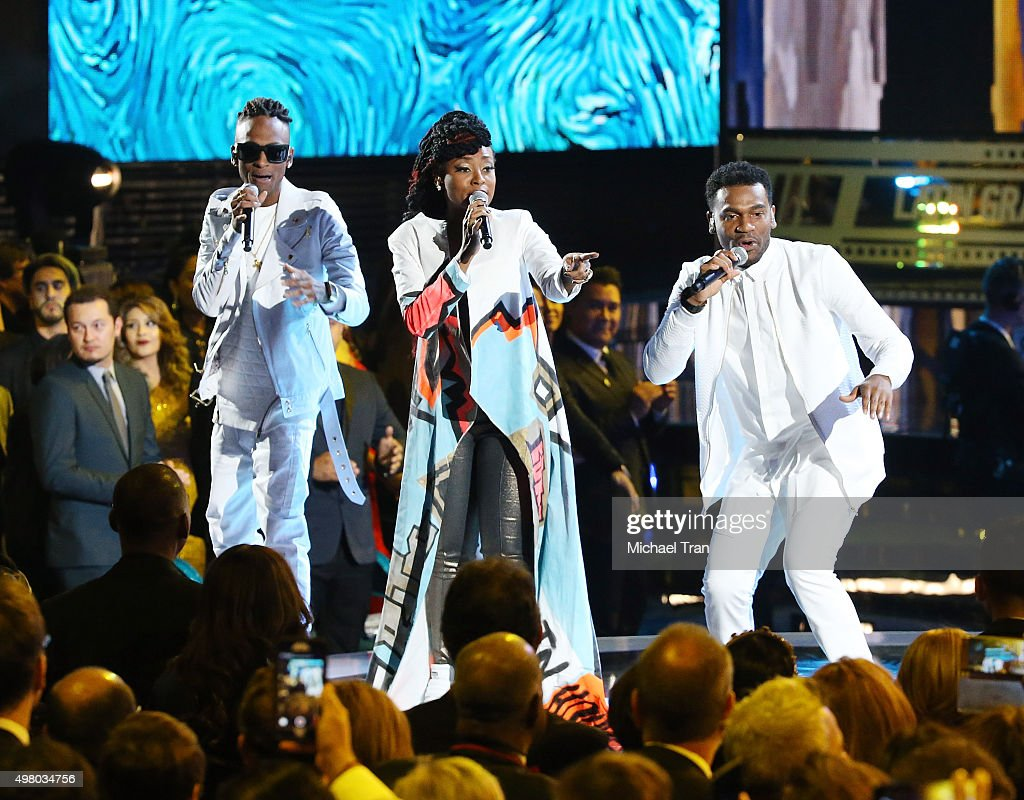 Miguel 'Slow' Martinez, Gloria 'Goyo' Martinez and Carlos 'Tostao' Valencia of music group ChocQuibTown perform onstage during the 16th Annual Latin GRAMMY Awards held at MGM Grand Garden Arena on November 19, 2015 in Las Vegas, Nevada.