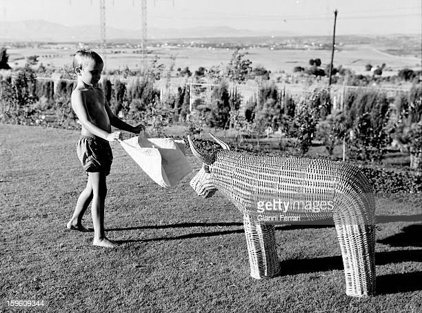 Miguel son of Spanish bullfighter Luis Miguel Dominguin plays with a wicker bull in the garden of his house in Somosaguas Madrid Spain
