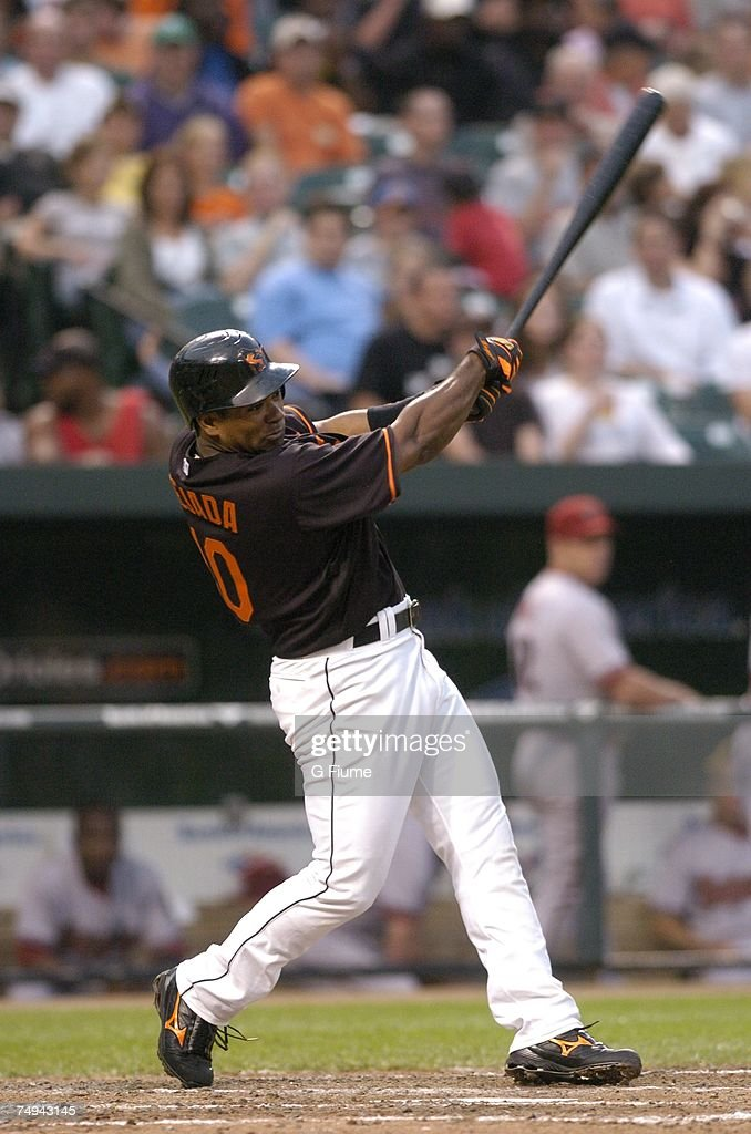 Miguel Tejada #10 of the Baltimore Orioles bats against the Arizona Diamondbacks at Camden Yards June 15, 2007 in Baltimore, Maryland.