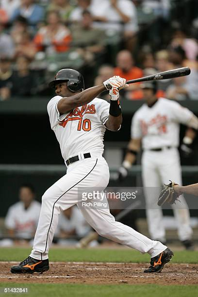 Miguel Tejada of the Baltimore Orioles hits during the game against the Minnesota Twins at Oriole Park at Camden Yards on September 6 2004 in...