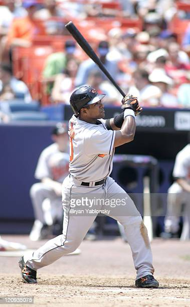 Miguel Tejada of the Baltimore Orioles hitting during regular season MLB game against New York Mets played at Shea Stadium in Flushing New York on...