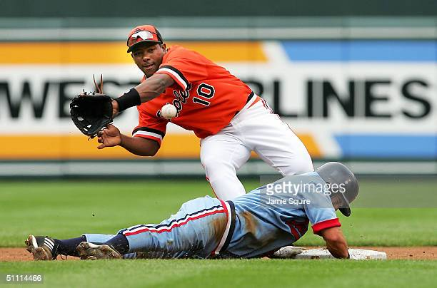 Miguel Tejada of the Baltimore Orioles tries for a pickoff attmpt at second base as Nick Punto of the Minnesota Twins returns safely during the first...