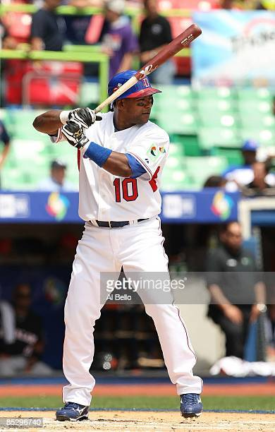 Miguel Tejada of The Dominican Republic in action against The Netherlands during the 2009 World Baseball Classic Pool D match on March 7, 2009 at...