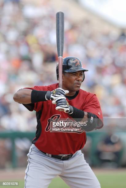 Miguel Tejada of the Houston Astros bats during the spring training game against the Detroit Tigers at Joker Marchant Stadium in Lakeland Florida on...