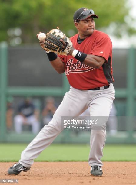 Miguel Tejada of the Houston Astros fields against the Detroit Tigers during the spring training game at Joker Marchant Stadium on March 17 2009 in...