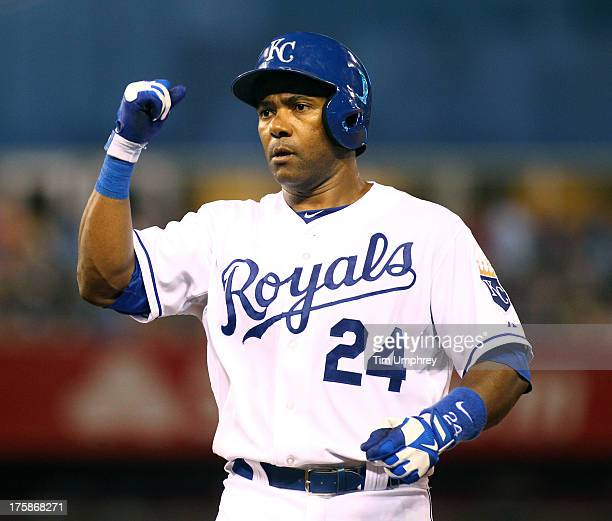 Miguel Tejada of the Kansas City Royals celebrates during a game against the Baltimore Orioles at Kauffman Stadium on July 24 2013 in Kansas City...