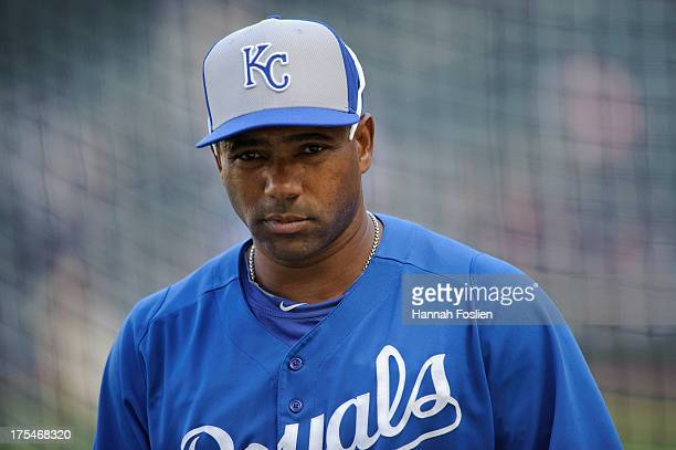 Miguel Tejada of the Kansas City Royals looks on during batting practice before the game against the Minnesota Twins on July 31 2013 at Target Field...