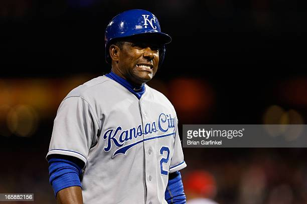 Miguel Tejada of the Kansas City Royals walks back to the dugout after being tagged out at third base in the seventh inning of the game against the...