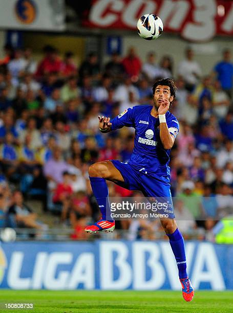Miguel Torres of Getafe do a header during the la Liga match between Getafe and Real Madrid at Coliseum Alfonso Perez on August 26 2012 in Getafe...