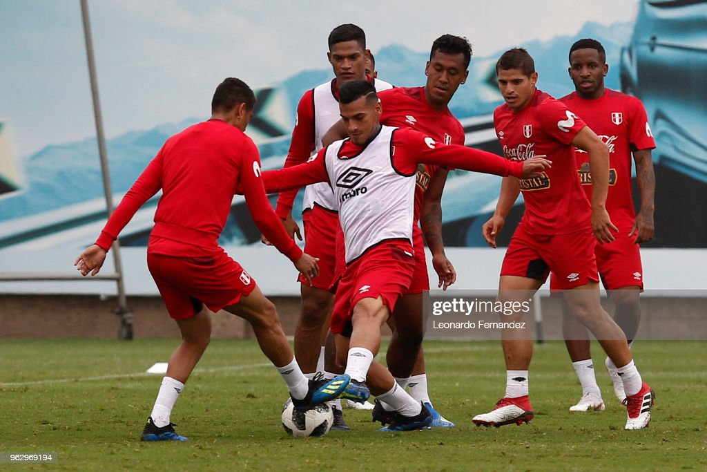 Miguel Trauco fights for the ball during a training session ahead of FIFA World Cup Russia 2018 on May 25, 2018 in Lima, Peru.