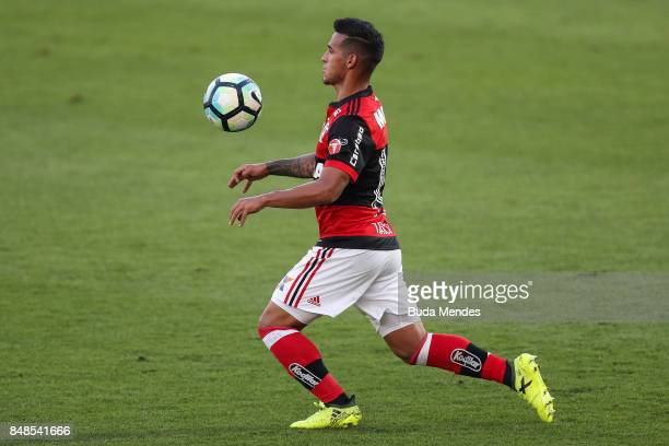 Miguel Trauco of Flamengo controls the ball during a match between Flamengo and Sport Recife as part of Brasileirao Series A 2017 at Ilha do Urubu...