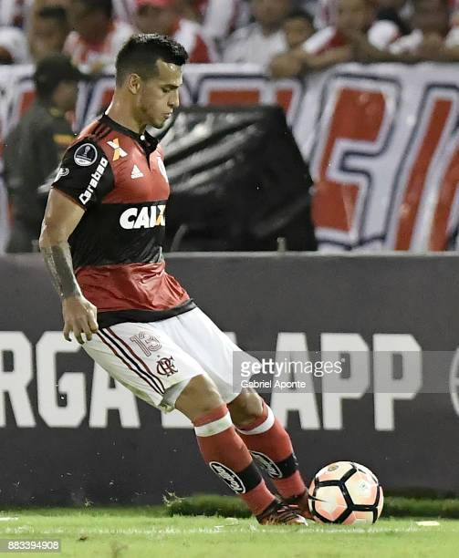Miguel Trauco of Flamengo plays the ball during a second leg match between Junior and Flamengo as part of the Copa CONMEBOL Sudamericana 2017...