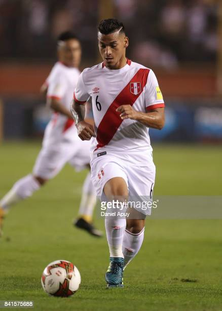 Miguel Trauco of Peru controls the ball during a match between Peru and Bolivia as part of FIFA 2018 World Cup Qualifiers at Monumental Stadium on...