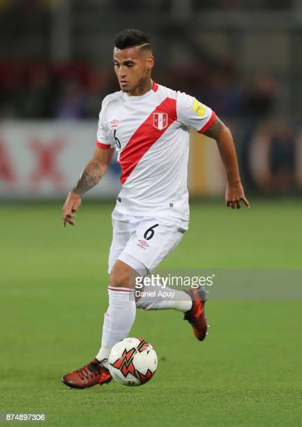 Miguel Trauco of Peru drives the ball during a second leg match between Peru and New Zealand as part of the 2018 FIFA World Cup Qualifier Playoff at...