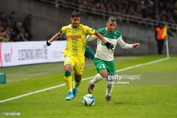 Miguel TRAUCO of Saint Etienne and Ludovic BLAS of Nantes during the Ligue 1 match between Nantes and Saint Etienne at Stade de la Beaujoire on...