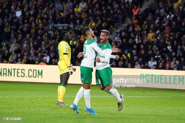 Miguel TRAUCO of Saint Etienne celebrates after scoring a goal during the Ligue 1 match between Nantes and Saint Etienne at Stade de la Beaujoire on...