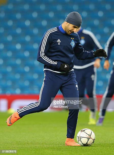 Miguel Veloso of FC Dynamo Kyiv passes the ball during a training session at the Etihad Stadium on March 14 2016 in Manchester United Kingdom