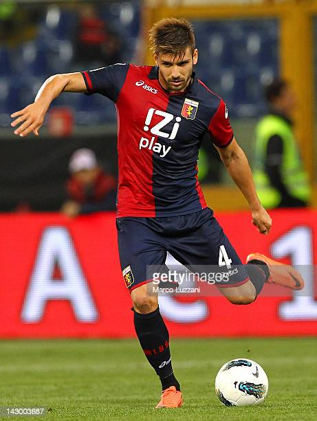 Miguel Veloso of Genoa CFC in action during the Serie A match between Genoa CFC and AC Cesena at Stadio Luigi Ferraris on April 11 2012 in Genoa Italy