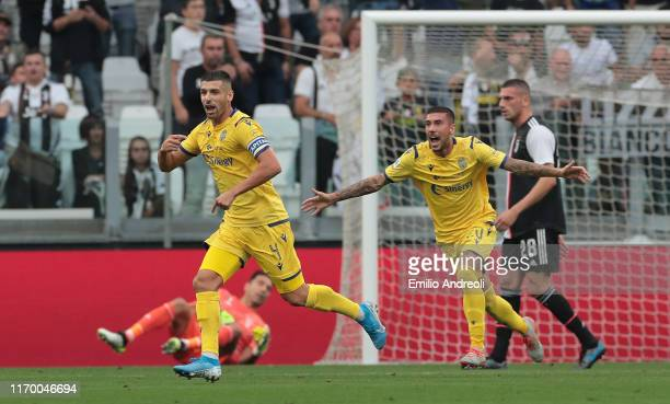 Miguel Veloso of Hellas Verona celebrates after scoring the opening goal during the Serie A match between Juventus and Hellas Verona at Allianz...