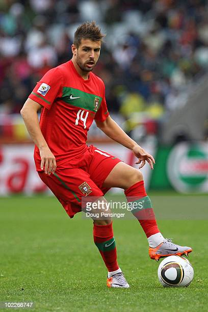 Miguel Veloso of Portugal passes the ball during the 2010 FIFA World Cup South Africa Group G match between Portugal and North Korea at the Green...