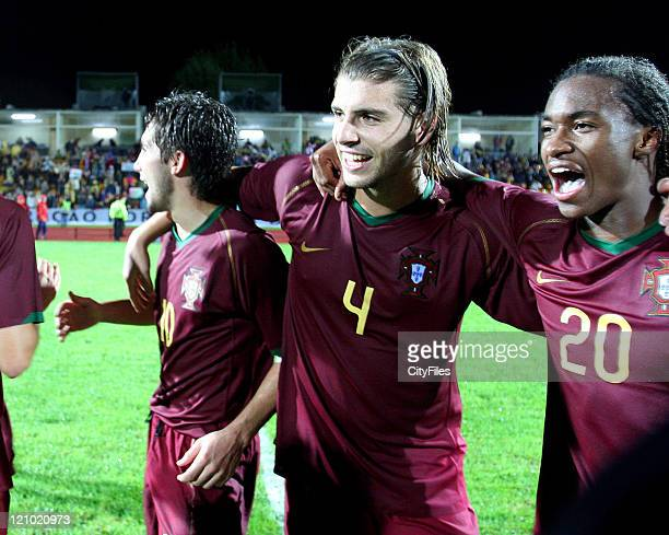 Miguel Veloso Yannick and João Moutinho during the Under 21 Championship Playoffs between Portugal and Russia in Porto Portugal on October 10 2006