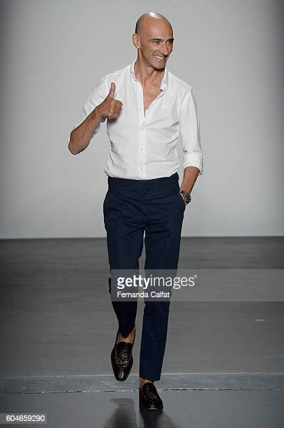 Miguel Vieira walks at Miguel Vieira Runway September 2016 at New York Fashion Week at Pier 59 Studios on September 13 2016 in New York City