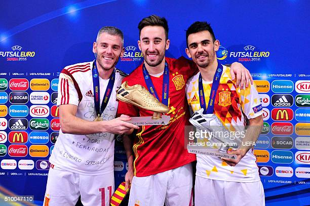 Miguelin of Spain Mario Rivillos of Spain and Alex of Spain pose with the adidas Golden Boot and adidas Silver Boot following the UEFA Futsal EURO...