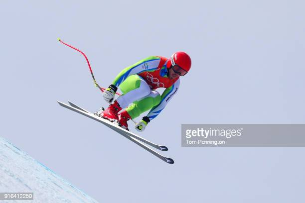 Miha Hrobat of Slovenia makes a run during the Men's Downhill 3rd Training on day one of the PyeongChang 2018 Winter Olympic Games at Jeongseon...
