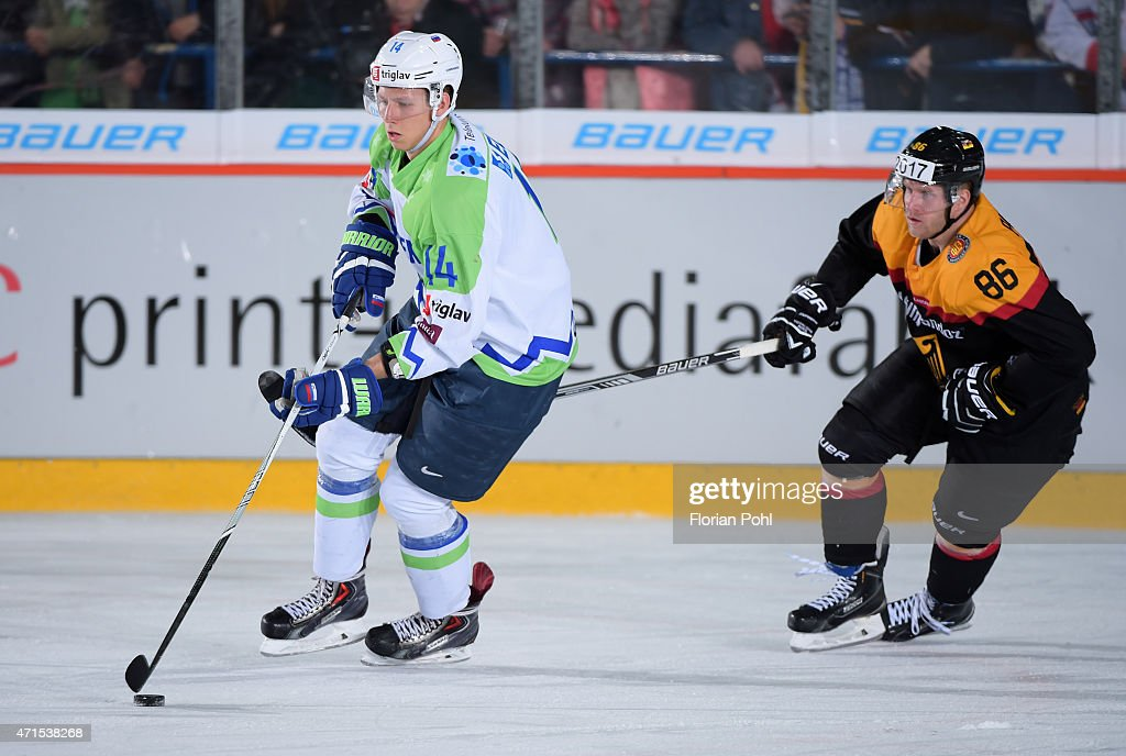 Miha Stebih of Team Slovenia and Daniel Pietta of Team Germany during the game between Germany and Slovenia on april 29, 2015 in Berlin, Germany.