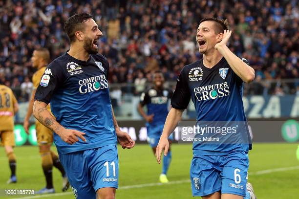 Miha Zajc of Empoli FC celebrates after scoring a goal during the Serie A match between Empoli and Udinese at Stadio Carlo Castellani on November 11...