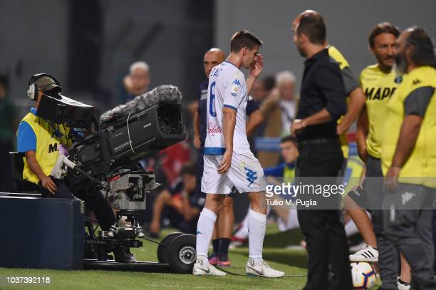 Miha Zajc of Empoli leaves the pitch after receiving a red card during the serie A match between US Sassuolo and Empoli at Mapei Stadium Citta' del...