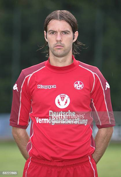 Mihael Mikic looks in the camera during the team presentation of 1FC Kaiserslautern for the Bundesliga season 2005 2006 on July 10 2005 in...