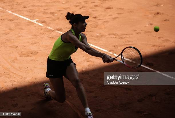 Mihaela Buzarnescu of Romania in action against Julia Glushko of Israel during TEB BNP Paribas Istanbul Cup tennis match in Istanbul Turkey on April...