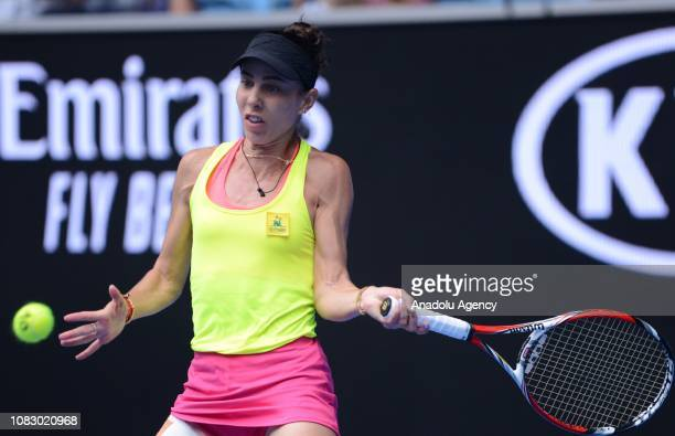 Mihaela Buzarnescu of Romania in action against Venus Williams of USA during Australian Open 2019 Women's Singles match in Melbourne Australia on...