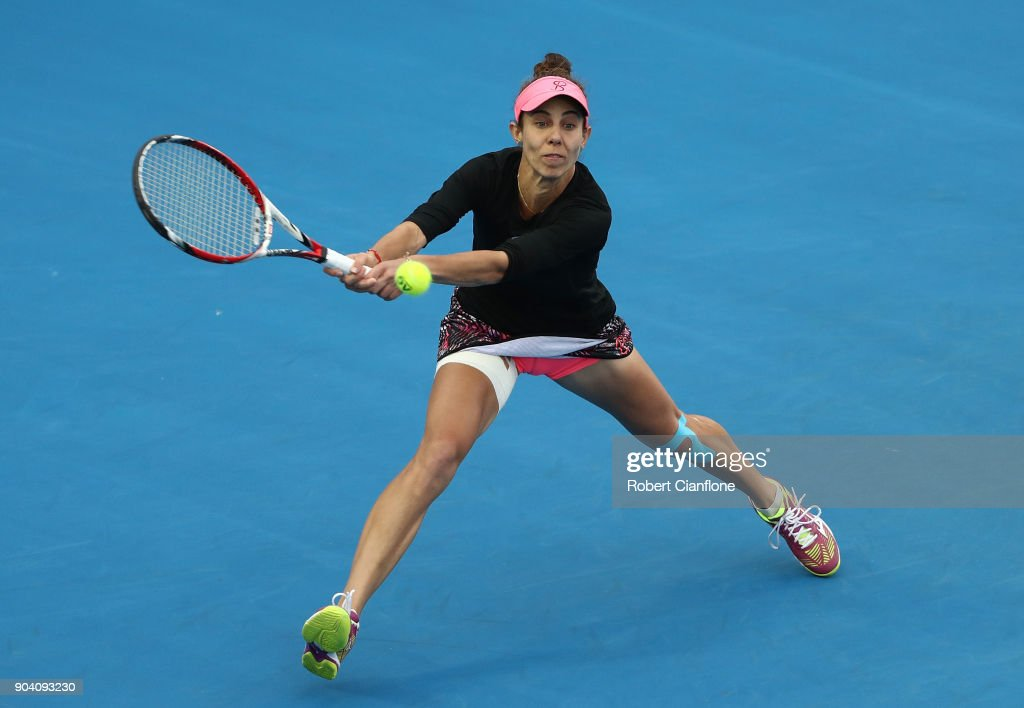 Mihaela Buzarnescu of Romania plays a backhand during the semi finals singles match against Lesia Tsurenko of the Ukraine during the 2018 Hobart International at Domain Tennis Centre on January 12, 2018 in Hobart, Australia.