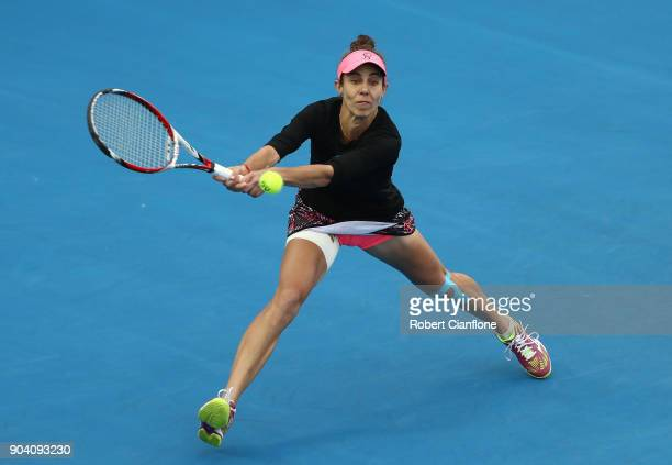 Mihaela Buzarnescu of Romania plays a backhand during the semi finals singles match against Lesia Tsurenko of the Ukraine during the 2018 Hobart...